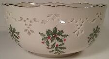 "Lenox Holiday Christmas Holly 24 Kt Gold Trim Large 8"" Pierced Porcelain Bowl"