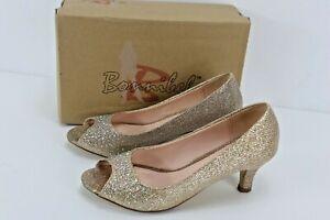 Bonnibel Wonda-2 Women Peep Toe Champagne Glitter Slip On Wedding Formal Shoes