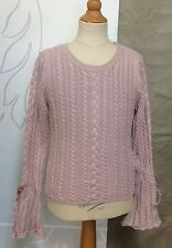 I PINCO PALLINO Rose Pink Cotton CASHMERE Cable Sweater Girl 8 10 12 Bell Sleeve