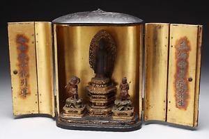 Japanese Antique Kshitigarbha Bodhisattva Jizo Bosatsu Triad in Zushi Shrine