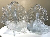 Vintage INDIANA Glass PEBBLE LEAF CLEAR GLASS TWIGGY PLATE CANDY DISH Set 6 PCS