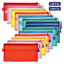 Rainbow Color Student Pen Pencil Case Zip Mesh Portable Pouch Makeup Bag Storage