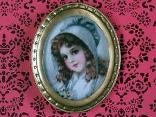 OVAL incorniciato quadro di una ragazza, DOLL HOUSE miniatura