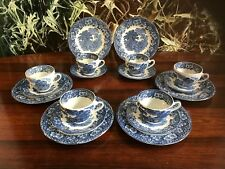 WEDGWOOD England  WOODLAND blau - 18- teiliges Kaffeeservice für 6 Personen