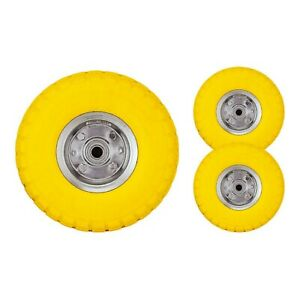 "Pack of 2 x 10"" Heavy Duty Sack Truck Wheel Solid Rubber Pneumatic Tyre Barrow"