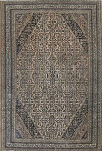 Antique Muted Geometric Hamedan Hand-knotted Area Rug Wool Oriental 9x12 Carpet