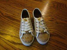 "MICHAEL KORS ""RITA 3""  Camel MK Monogram Girls Shoes Size 12 NEW"