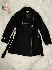 Michael Kors Wool Coat W/ Gold Zipper-Black-12