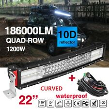 "10D 22"" 1200W CURVED LED WORK LIGHT BAR SPOT FLOOD COMBO BEAM + Wiring Harness"