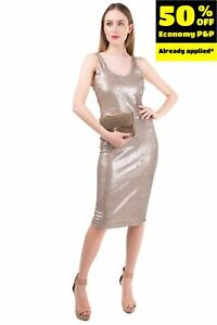 MANILA GRACE Sheath Dress Size 40 / S Sequined Open Back Made in Italy