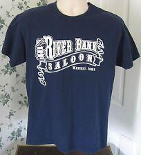 River Bank Saloon Men's T-Shirt Medium Waverly Iowa IA Tankard
