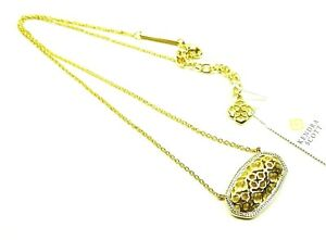 KENDRA SCOTT Dollie Yellow Gold Plated Filigree Pendant Necklace