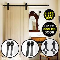 Sliding Barn Door Hardware Track Rail Set Kit Roller Carbon Steel 6.6/ 8/ 12 FT