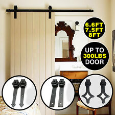 Sliding Barn Door Hardware Track Rail Set Kit Roller Carbon Steel 6.6/ 8/ 12 FT
