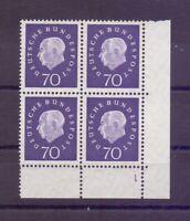 Bund 1959 - 70Pf. Heuss - MiNr. 306** als Eckrand-4erBlock mit Formnummer (964)