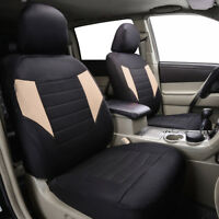 Universal Car Seat Covers 2 Front Black Beige Airbag For SUV VAN TRUCK SEDAN