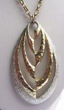 Grand pendentif collier chaîne signé couleur or et argent bijou vintage  2067