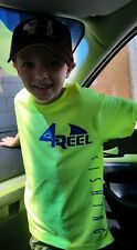 4 reel t shirt and Car decal.    Fishing, shark,  sm-xxl bright high res yellow