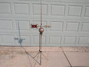 Vintage Antique 1800's Lightning Rod Copper Cast Iron Arrow Glass Ball Farm Barn