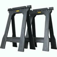 STANLEY Folding Sawhorse (2 Pack) Durable Plastic Stand Holder Tool