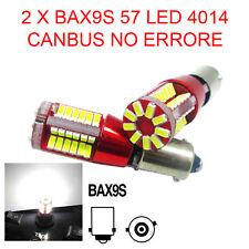 2 LAMPADINE AUTO BAX9S 57 LED 4014 CANBUS NO ERRORE LUCE POSIZIONE BIANCA