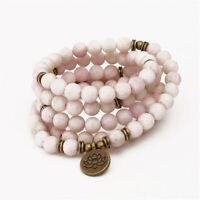 6mm Pink Jade Stone 108 Beads Lotus Pendant Bracelet Handmade cuff Lucky
