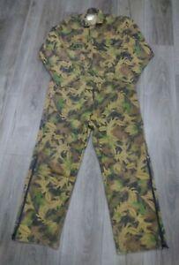 VTG Kelly Kamo Tru Leaf Long Sleeve Coveralls Camouflage Hunting USA Mens Large