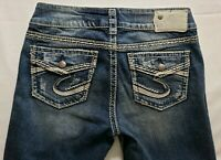 Silver Jeans Suki Flap Womens Blue Denim Size 27 x 32 Boot Cut Dark Wash Mid EUC