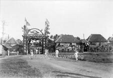 """Photo ca 1900 Masbate, Philippines """"Arch & USA Flags Built to Honor Commission"""""""