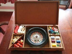 Compendium Game H. Baron Company Backgammon, Vintage Chess, Roulette etc in Case