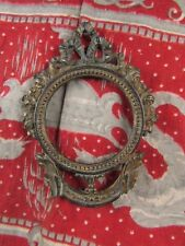 ancien facade cadre porte photo en metal medaillon style Louis XVI