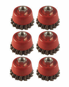 """6 x Twist Knot Wire Wheel Cup Brush 3"""" M14 75mm for 4.5"""" 115mm  Angle Grinder."""