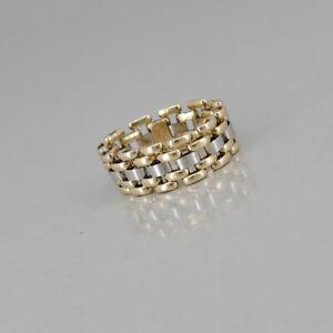 RING Kettenring in 750/18k Gelbgold Weissgold ohne Besatz, Ringweite: 62