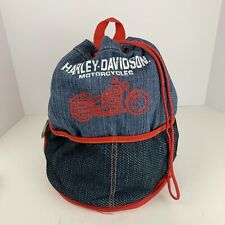 Harley Davidson bucket backpack, red, denim, classic retro, logo rare