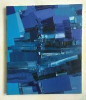 """FOUGERAND.LAURENT """" Le carré bleu """" 55 cm x 46 cm huile sur toile octobre 2019"""