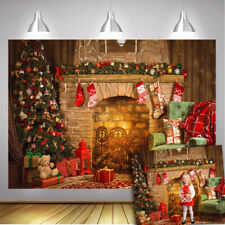 Christmas Fireplace Backdrop Xmas Theme Red Blanket Gifts Tree Photo Background