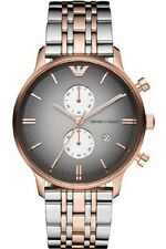 Authentic Emporio Armani AR1721 Man Chronograph Rose Gold Silver Classic Watch