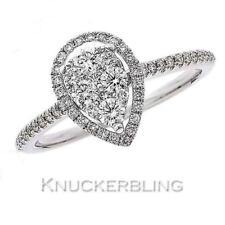 Diamond Pear Shape Halo Ring 0.50ct F VS Brilliant Cut set in 18ct White Gold