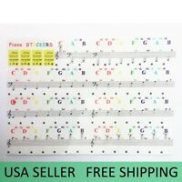 Piano Stickers for 49 / 37/ 61 / 88 Key Keyboards Transparent and Removable