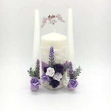 Provence Unity Candle Set, Lavender unity candle, flower weding accessories