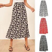 Alacki Womens Daisy Print Midi Skirt High Waist Slim Floral Maxi Skirt (S~XL)