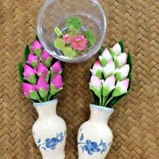 Lotus Bud Pink White Handmade Artificial Flower Fake Bunch Leaf Clay Bouquet