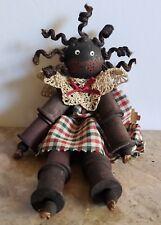 Adorable Vintage Black Americana African American Wooden Spool Doll