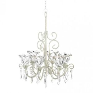 HOME LIGHTING DECOR CRYSTAL BLOOMS 6 CANDLE CHANDELIER
