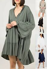 Ladies Womens Italian Lagenlook Oversized Summer Smock Dress Tunic Top Plus Size