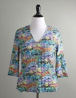 SNOSKINS Sno Skins $89 Stretch Tiered Ruffle Vibrant Semi Sheer Top Size Large