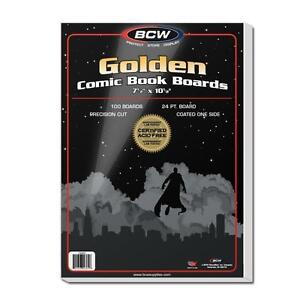 "1 Pack 100 BCW Brand Golden Age 7 1/2"" Comic Book Storage Backing Backer Boards"
