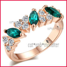 18K ROSE GOLD GF LADIES GIRLS MARQUISE EMERALD COCKTAIL DRESS BAND CRYSTALS RING
