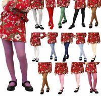 Girls Tights Plain Opaque 60 Denier Microfibre Age 2-12 Years Various Colours