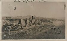 """WW1 Panoramic view captured 6"""" Howitzer Battery Position RGA smashed motorcycle"""